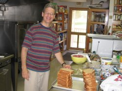 Fr. Ken McKenna, OSFS, works in the DeSales Center Kitchen